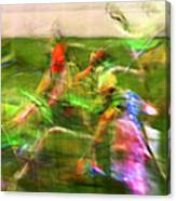 Girls Lacrosse Abstract Canvas Print