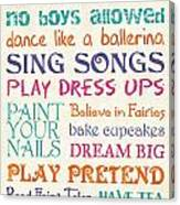 Girls Rules Canvas Print
