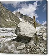 Glacial Moraine Boulder, French Alps Canvas Print