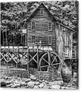 Glade Creek Grist Mill Bw Canvas Print