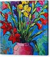 Gladioli In A Vase Canvas Print