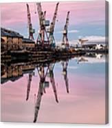 Glasgow Cranes With Belt Of Venus Canvas Print