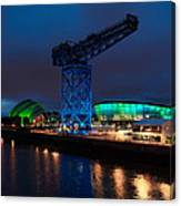 Glasgow - River Clyde At Night Canvas Print