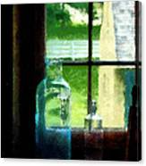 Glass Bottles On Windowsill Canvas Print