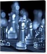 Glass Chessmen Arranged On Black Background Canvas Print