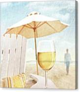 Glass Of  Wine On Adirondack Chair At The Beach Canvas Print
