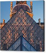 Glass Pyramid At Musee Du Louvre Canvas Print