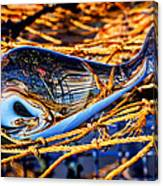 Glass Whale On Fishing Nets Canvas Print
