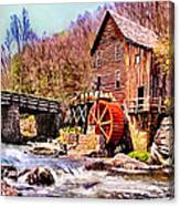 Glen Creek Grist Mill Painting Canvas Print