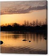 Gloaming - Subtle Pink Lavender And Orange At The Lake Canvas Print