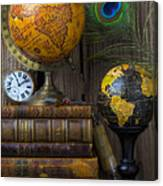 Globes And Old Books Canvas Print
