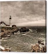 Gloomy Day At The Portland Head Light Canvas Print