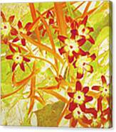 Glory Of The Snow - Lime Green And Orange Canvas Print