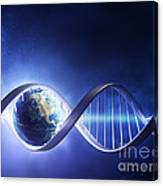Glowing Earth Dna Strand Canvas Print
