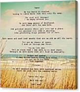 Glowing Soft Surf And Sand With Knots Poem Canvas Print