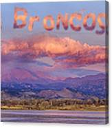 Go Broncos Colorado Front Range Longs Moon Sunrise Canvas Print