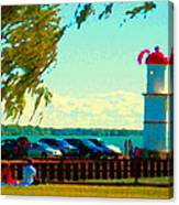 Go Fly A Kite Off A Short Pier Lachine Lighthouse Summer Scene Carole Spandau Montreal Art  Canvas Print