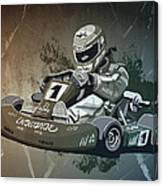 Go-kart Racing Grunge Monochrome Canvas Print