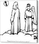 God Overlooks Earth Next To A Robin-like Angel Canvas Print