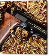 Gold 9mm Beretta With Brass Ammo Canvas Print