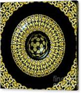 Gold And Black Stained Glass Kaleidoscope Under Glass Canvas Print