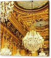 Gold Ceiling And Chandeliers Canvas Print