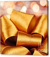 Gold Gift Bow With Festive Lights Canvas Print