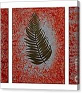 Gold Leaves On Orange Triptych Canvas Print