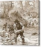 Gold Washing In California, From A Book Canvas Print