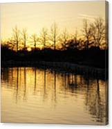 Golden And Peaceful - A Sunset On Lake Ontario In Toronto Canada Canvas Print