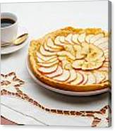 Golden Apple Tart And Coffee Cup Canvas Print