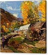 Golden Autumn In Vithkuq Korce Canvas Print