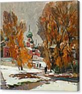 Golden Autumn Under Snow Canvas Print