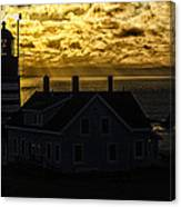 Golden Backlit West Quoddy Head Lighthouse Canvas Print