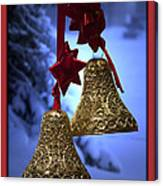 Golden Bells Red Greeting Card Canvas Print