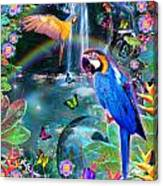 Golden Bluebirds Paradise Version 2 Canvas Print