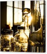 Golden Bottles And Mason Jars Canvas Print