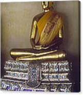 Golden Buddha On Pedestal Canvas Print