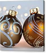 Golden Christmas Ornaments Canvas Print