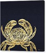 Golden Crab On Charcoal Black Canvas Print