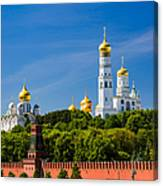 Golden Domes Of Moscow Kremlin - Featured 3 Canvas Print