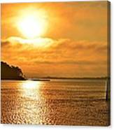 Golden Foggy Sunrise Colors On Santa Rosa Sound At Hurlburt Harbor Canvas Print