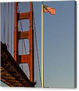 Golden Gate And American Flag Canvas Print