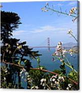 Golden Gate Bridge And Wildflowers Canvas Print
