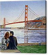 Golden Gate Bridge San Francisco - Two Love Birds Canvas Print