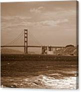 Golden Gate Bridge With Surf Sepia Canvas Print