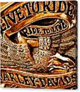 Golden Harley Davidson Logo Canvas Print