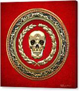Golden Human Skull On Red   Canvas Print