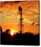 Golden Kansas Sunset With Windmill Canvas Print