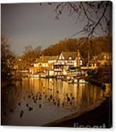 Golden Light At Boathouse Row Canvas Print